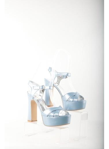 Topukla Hakiki Deri Ayakkabı Mavi